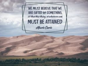 We Are Gifted For Something by Marie Curie Inspirational Downloads Inspirational Quote Poster