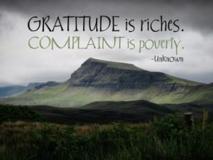 Gratitude Is Riches Inspirational Quote by Unknown Author