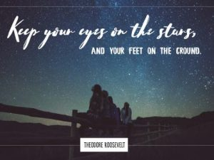 Keep Eyes On The Stars Inspirational Quote by Theodore Roosevelt Inspirational Poster