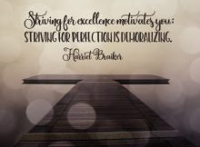 Striving For Excellence Inspirational Quote by Harriet Braiker Inspirational Picture
