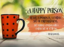 A Happy Person Inspirational Quote by Hugh Downs Inspirational Picture