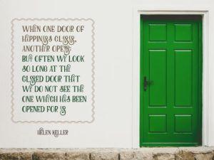 Door Of Happiness by Helen Keller Inspirational Quote Poster